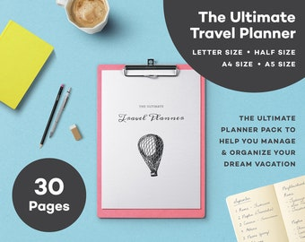 The Ultimate Travel Planner - Printable - A4 - Letter- A5 - Half Letter - Minimalist Planner - Trip Planner - Vacation Organizer  - Holiday