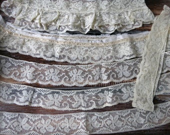 6 pieces vintage 1920's cream cotton lace
