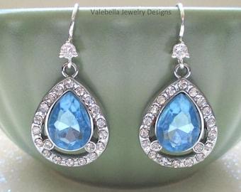 Earrings Something Blue bridal sterling silver pear shaped aquamarine March birthstone tear drop bridesmaid mother bride wedding jewelry