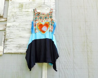 Upcycled Tunic, Festival Clothing, Up Cycled Clothing, Recycled, Reclaimed, Summer Dress, T-Shirt, Womens Fashion, Heart, CreoleSha