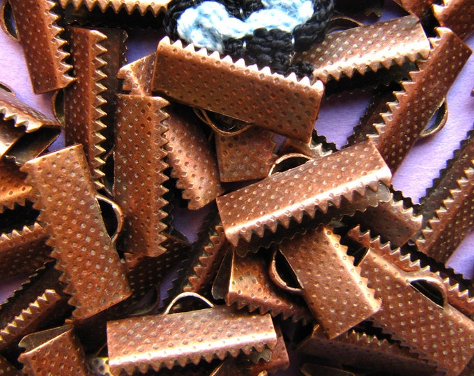 144 pieces 16mm or 5/8 inch Antique Copper Ribbon Clamp End Crimps