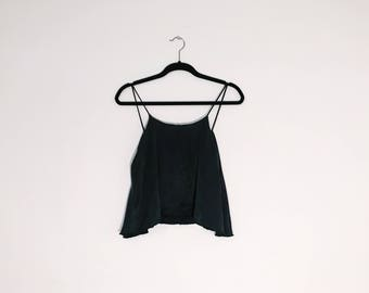 Faded Black Cami Top Matte Cupro Rayon Cami One Size