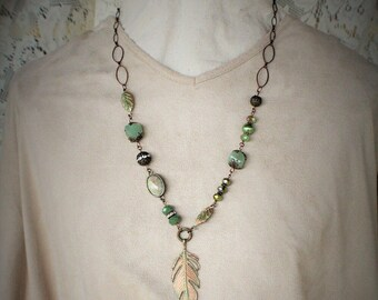 Green Patina Copper and Brass Necklace
