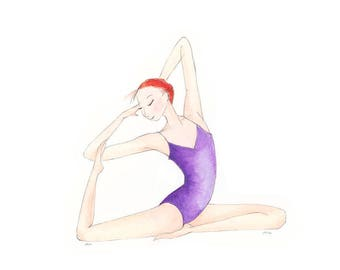 "Yoga Art-Harmony-Giclee Print of Original Illustration8""x10""-Woman-Redhead Ginger-Purple-Yoga Pose Meditation-Watercolor-WallArt-Gift"