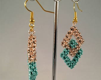 Gold plate triangle pendant drop earrings; turquoise and gold beaded and fish hook dangle earrings