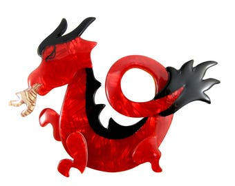 Lea Stein Signed Dragon Brooch Pin - Red, Black
