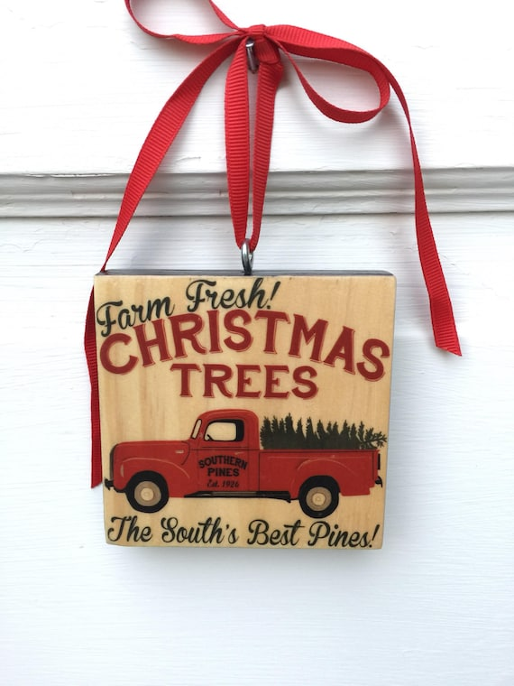 Farmhouse Christmas Ornament for Tree, Vintage Truck Ornament Wood Block, Hostess Christmas Gift, Farm Fresh Christmas Tree Ornament on Wood