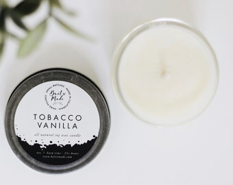 Tobacco Vanilla, unique candle scents, manly scents, awesome manly gift, candles for him, man cave candles, man candles, soy candle 4oz