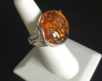 Medium Size, Honey Baltic Amber Ring, Sterling Silver 925.