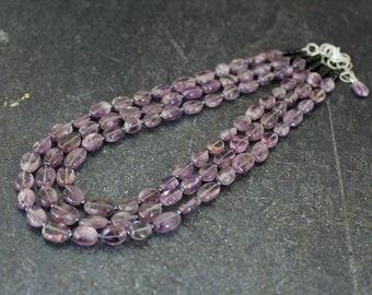 Amethyst Multi Strand Necklace, Amethyst Necklace, February Birthstone, Amethyst Ovals, Amethyst Jewelry, Purple Necklace, Black Onyx