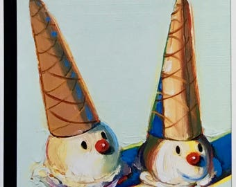 Postcard featuring a famous 'New Yorker' cover - Ice cream cones. BIG discount for multiple purchases!!