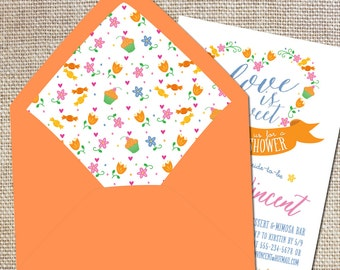 """Lined envelopes to match your """"Love is Sweet"""" theme shower"""