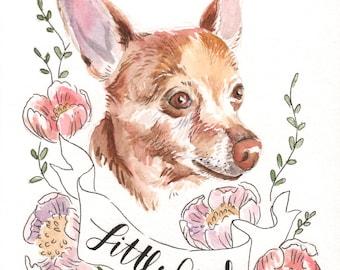 Pet Portrait Watercolor, custom pet portrait,  pet memorial, pet loss gift, pet gift, custom portrait, pet lover gift, mothers day gift