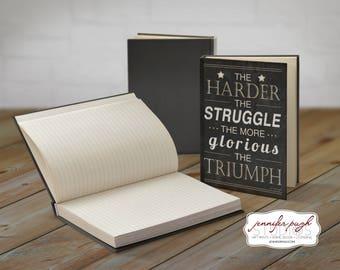 Triumph 5x7 Hardback Bound Journal -Inspirational, Word Art -Black White
