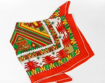 Vintage silk scarf  tribal print  scarf  aztec print scarf multicolor scarf silk foulard square silk scarf