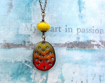 Boho necklace friend gift for her Enamel jewelry pendant long yellow necklace rustic jewelry