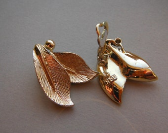 Textured Gold Tone Leaf Clip On Earrings signed BSK