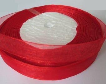 5 m organza Ribbon red 12mm