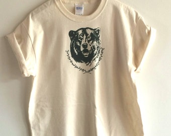 Bear T-Shirt, Screen Printed T Shirt, Camping Shirt