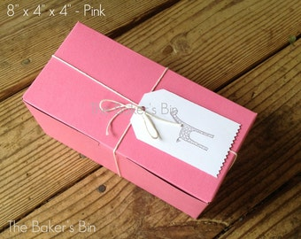 "Pink Bakery Boxes • 8"" x 4"" x 4"" "" • Set Of 6 • Food Safe • Pastries • Donuts • Cakes • Cookies • Old Fashion Bakery Boxes • Boxes Only"
