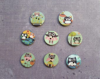 30 buttons round wood bird Owl 2 cm
