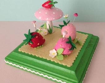 Strawberries Pincushion with Mushroom Sculpture
