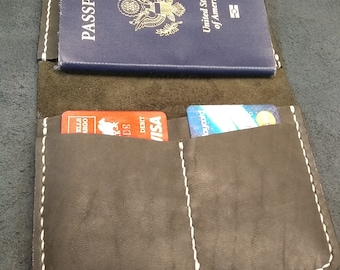 Hand stitched Horween Latigo Leather Passport wallet, Travel wallet, passport cover, passport holder, gift for traveler, bespoke