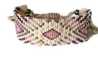 Loom beaded bracelet / Beaded bracelet with waxed cord