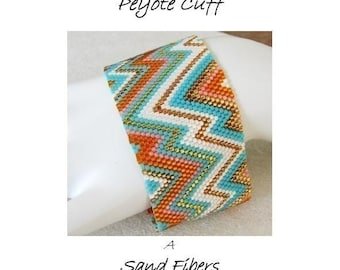 Peyote Pattern -  Summer Abstract (zigzag) Peyote Cuff / Peyote Bracelet - A Sand Fibers For Personal  Use Only  PDF Pattern - 3 for 2
