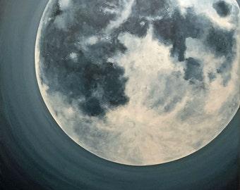 Peint à la commande pépinière Nightlite géant 36 x 36 peinture originale de l'espace bleu acrylique lune par RSalcedo FFAW