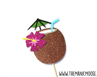 Coconut Cocktail Photo Booth Prop ~  Tropical Cocktail ~ GLITTER Photobooth Props ~ Props Come Fully Assembled