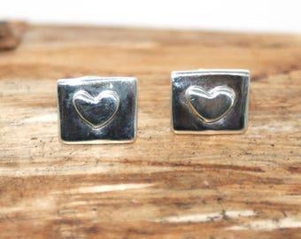Sterling Silver Rectangle Heart Earrings - Handmade earring - Silver Heart earrings - 925 silver stud earrings - handmade jewellery - (ME5)