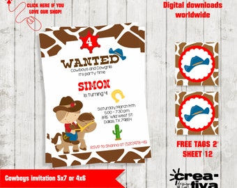 Cowboy Invitation / Birthday Invitation / Cowboy Party Invite / Cowboy Party / Cowboy Invite / Cowboy Birthday / Boys Birthday Invitation