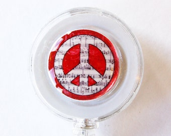ID Badge Holder, Badge Reel, Retractable id, Badge clip, Name Tag, Peace, Peace Sign, id badge clip, red