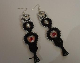 Boucles d'oreille tissage en macramé et perles ivoires