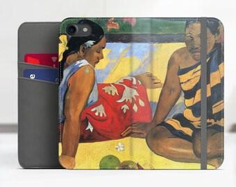 """Paul Gauguin """"What's New?"""" iPhone 7 folio case Samsung Galaxy S8 folio case iPhone 8 folio Phone cover for iPhone, Samsung. WC-PGA-02"""