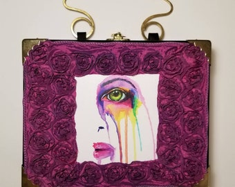 Colorful Half Face in Roses cigar box purse