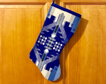 Christmas Stocking XL Wool Sapphire Southwestern Tribal Handcrafted Using Fabric from Pendleton Woolen Mill