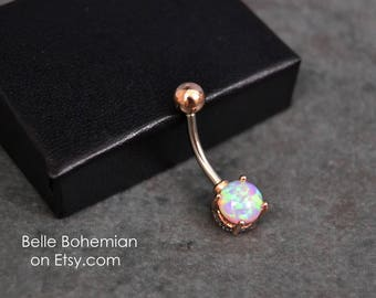 Belly Button Ring Peach Fire Opal Rose Gold Fast Shipping Opal Belly Ring Opal Belly Jewelry 14G Opal Navel Ring