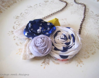 Nautical Statement Necklace,Navy & Gold Rosette Necklace, Nautical Rosette Necklace, Nautical Bib Necklace, Rosette Jewelry,Nautical Jewelry