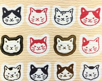 Cat Stickers - Cute Stickers - Japanese Washi Paper Stickers - Chiyogami Paper Stickers  (S275)