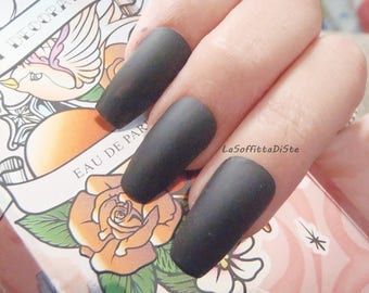 matte black coffin nails matt black gothic wedding vampire halloween drag queen pastel goth new ballerina false fake nail lasoffittadiste