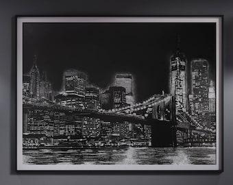 Brooklyn Bridge Print, Wall Decor, Black and White, Illustration