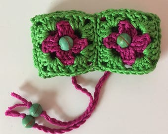 Wristband funky crochet bracelet boho granny squares with beads in green pink