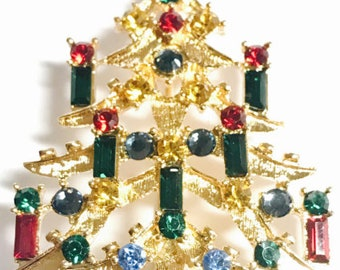 Eisenberg Ice SIGNED Vintage Old New Stock Gold Multicolored Rhinestones Christmas Tree with 8 Candles, Pin Brooch Made in USA
