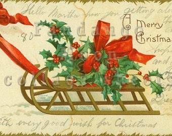 Christmas Holly Vintage Postcard Digital Collage Sheet Full Size