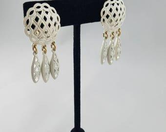 MONET signed Comfort Clip Earrings, White Enamel Openwork Lattice Pie Dangles