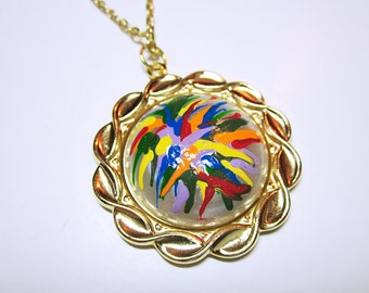 PENDANT Colorful Abstract Art Pendant Necklace Hand Painted NECKLACE JEWELRY