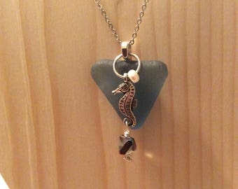 Blue Sea Glass and Seahorse Necklace