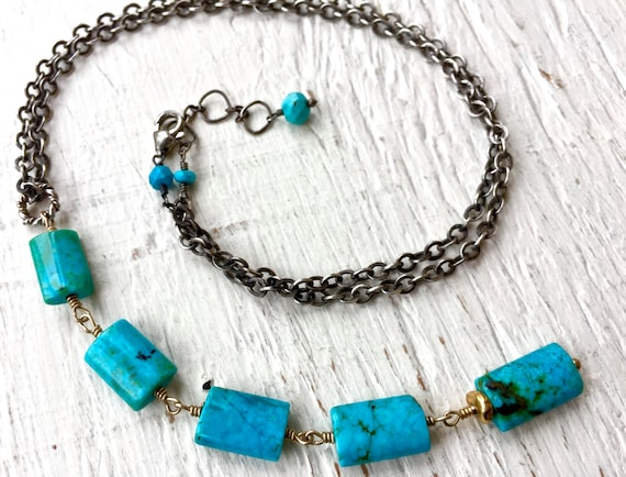 Turquoise Necklace, Turquoise Jewelry. Lariat Necklace, December Birthstone, Mixed Metal, Southwestern Jewelry, Sundance Style Necklace